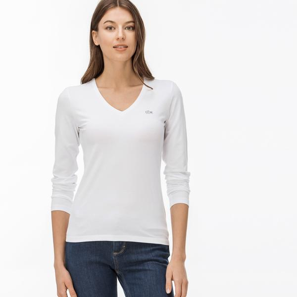 Lacoste Women's V-Neck Flowing Cotton Jersey T-Shirt