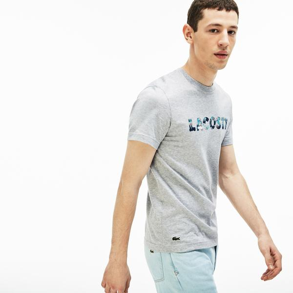 Lacoste Men's Crew Neck Hawaiian Lettering Print T-Shirt