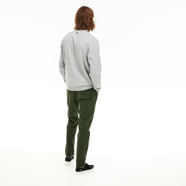 Lacoste Men's Crew Neck Crocodile Print Fleece SweatShirt