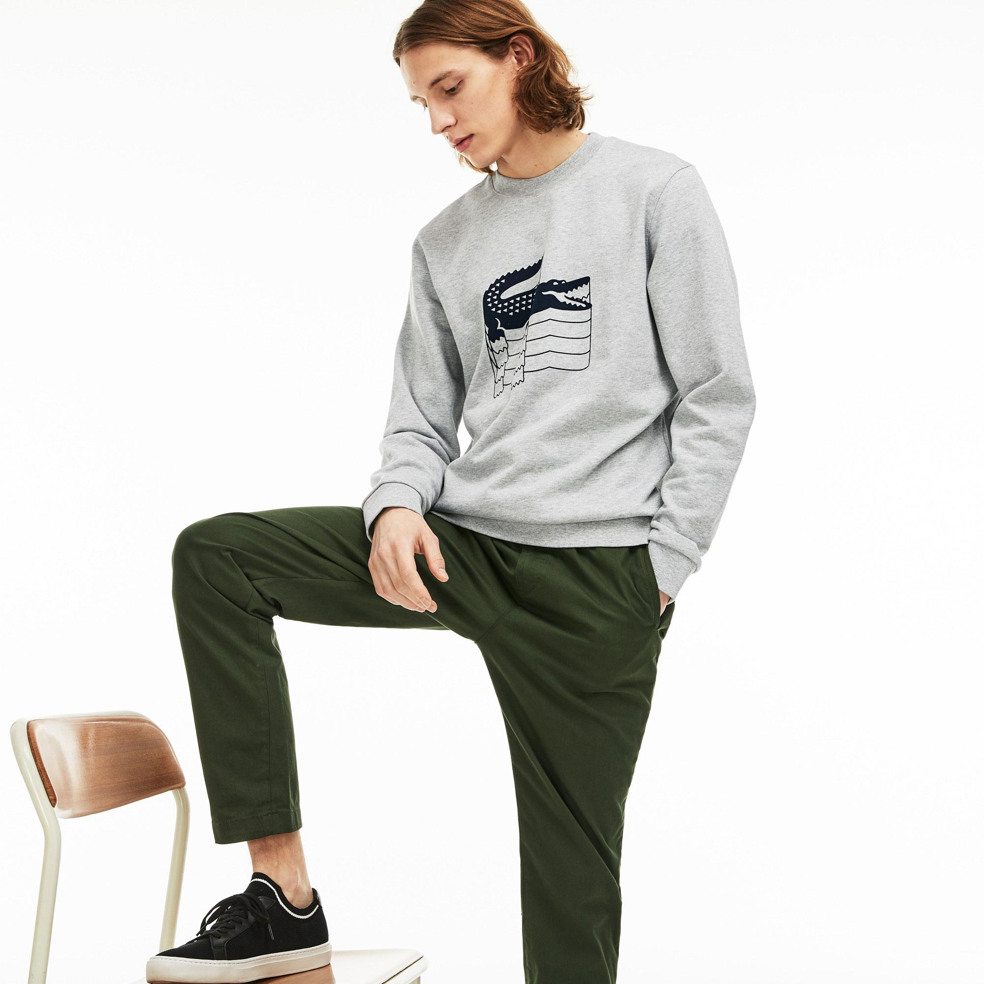 Lacoste Men's Crew Neck Crocodile Print Fleece SweatShirt