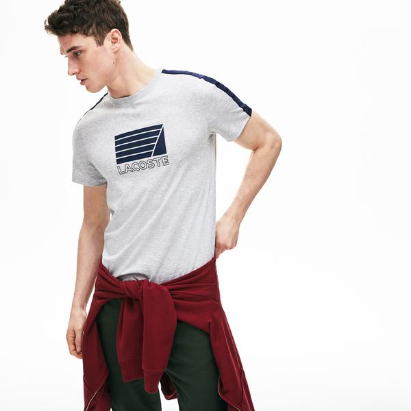 Lacoste Men's Crew Neck Contrast Bands And Nautical Logo T-Shirt