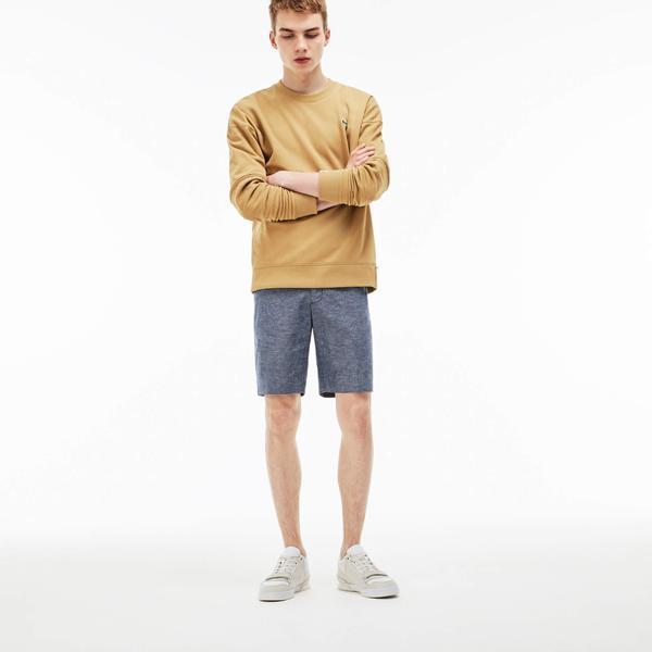 Lacoste Men's Lıve Linen And Cotton Chambray Bermuda Shorts