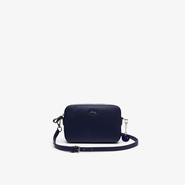 Lacoste Women's Daily Classic Coated Piqué Canvas Square Zip Shoulder Bag