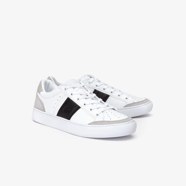 Men's White with Black Stripe Lacoste Shoes