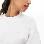 Lacoste Women's Crew Neck Ribbed Panels Two-Ply Sweatshirt