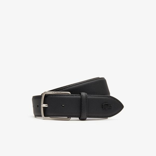 Lacoste Men's Engraved Buckle Piqué Canvas Belt