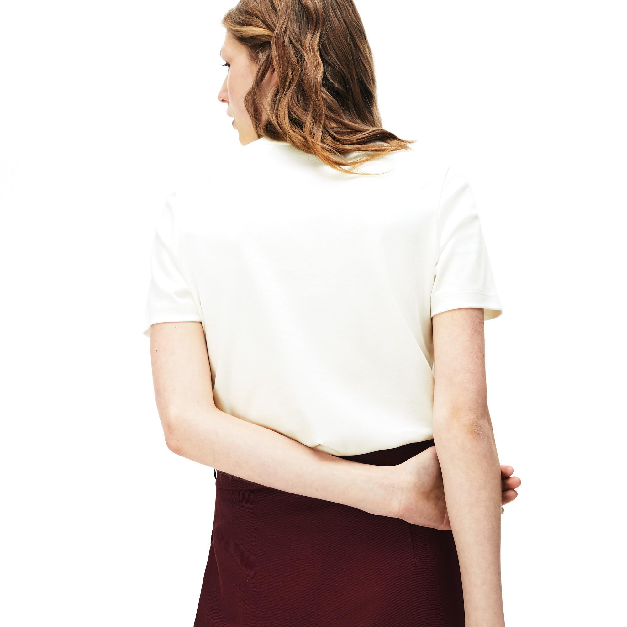 Lacoste Women's Crew Neck Check Lacoste Badge Lightweight Cotton T-Shirt