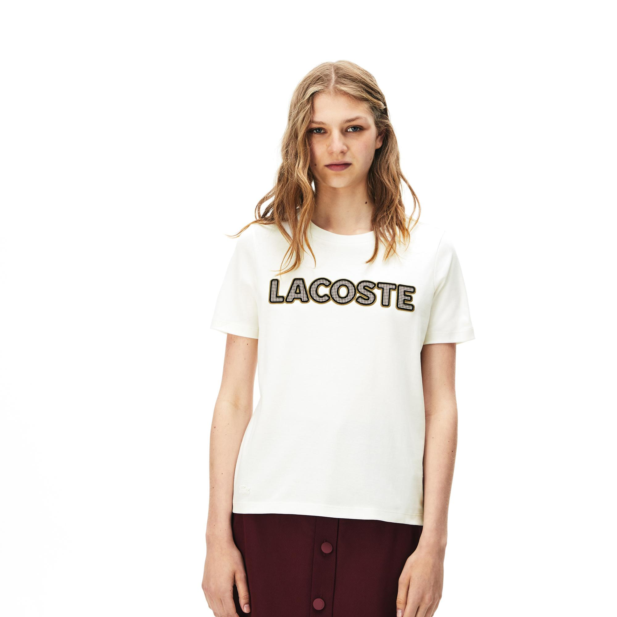 Lacoste Women's Crew Neck Check Lacoste Badge Lightweight Cotton T-Shirt