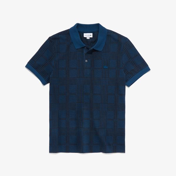 Lacoste Men's Regular Fit Glen Plaid Print Cotton Polo