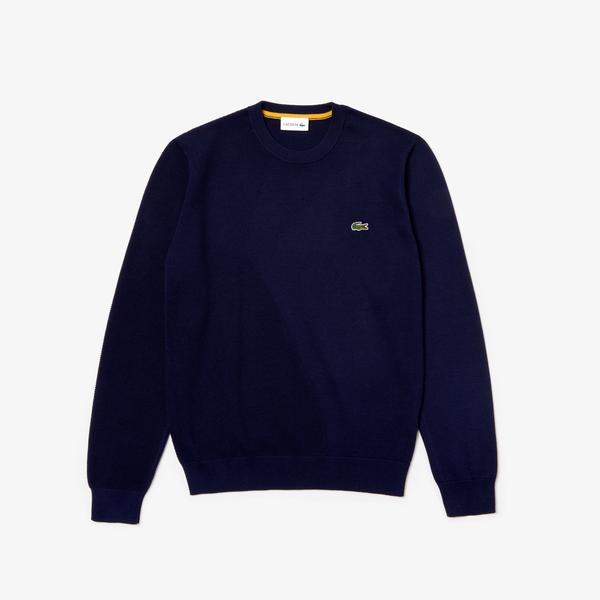 Lacoste Men's Crew Neck Texturised Thermoregulating Bi-Material Sweater