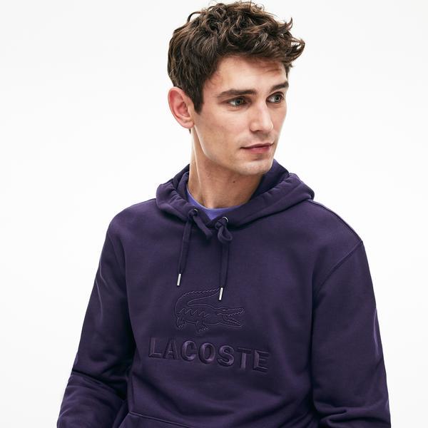 Lacoste Men's Embroidered Logo And Kangaroo Pocket Hooded Fleece Sweatshirt