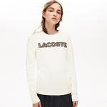 Lacoste Women's Crew Neck Check Lacoste Badge Cotton Sweater