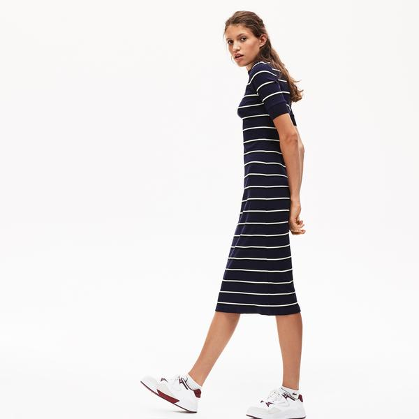 Lacoste L!VE Women's Striped Ribbed Knit Tube Dress