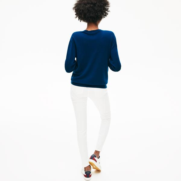 Lacoste Women's Notched V-Neck Wool Sweater