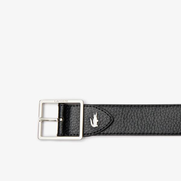 Lacoste Men's Engraved Buckle Reversible Grained Leather Belt