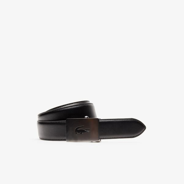 Lacoste Men's Engraved Plate Buckle Leather Belt