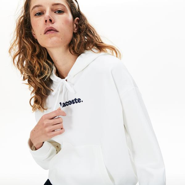 Lacoste Women's Signature Wide Hooded Fleece Sweatshirt