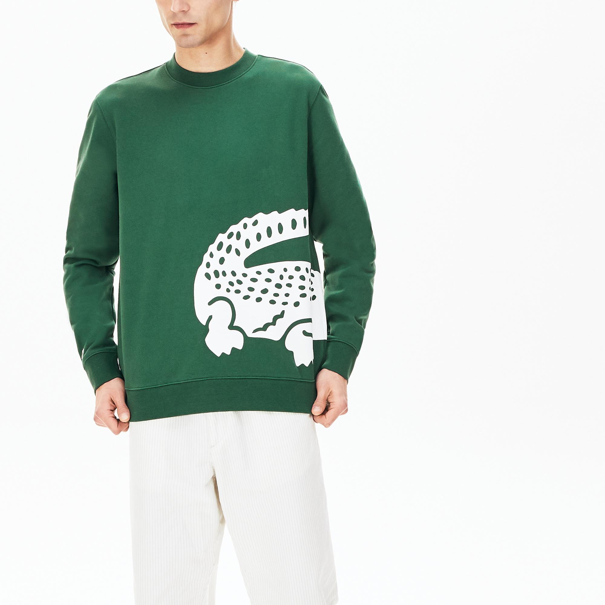 Lacoste Men's Oversized Crocodile Crew Neck Sweatshirt
