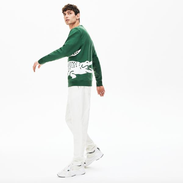 Lacoste Men's Oversized Crocodile Crew Neck Sweatshirt