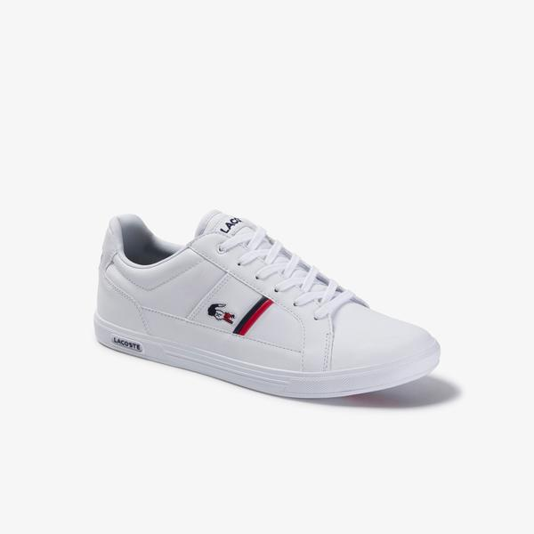 Lacoste Men's Europa Tricolore Leather And Synthetic Sneakers