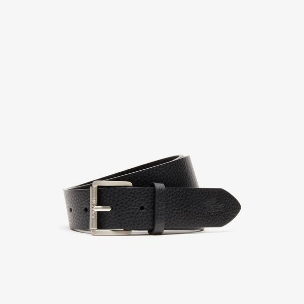 Lacoste Men's Engraved Rolling Buckle Grained Leather Belt