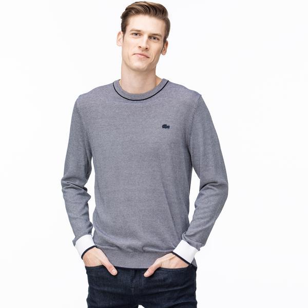Lacoste Men's Round Neck Striped Tricot Sweater