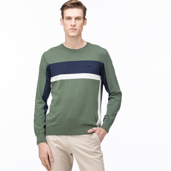 Lacoste Men's Round Neck Block Striped Tricot Sweater