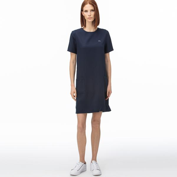 Lacoste Women's Round Neck Striped Short Sleeve Dress