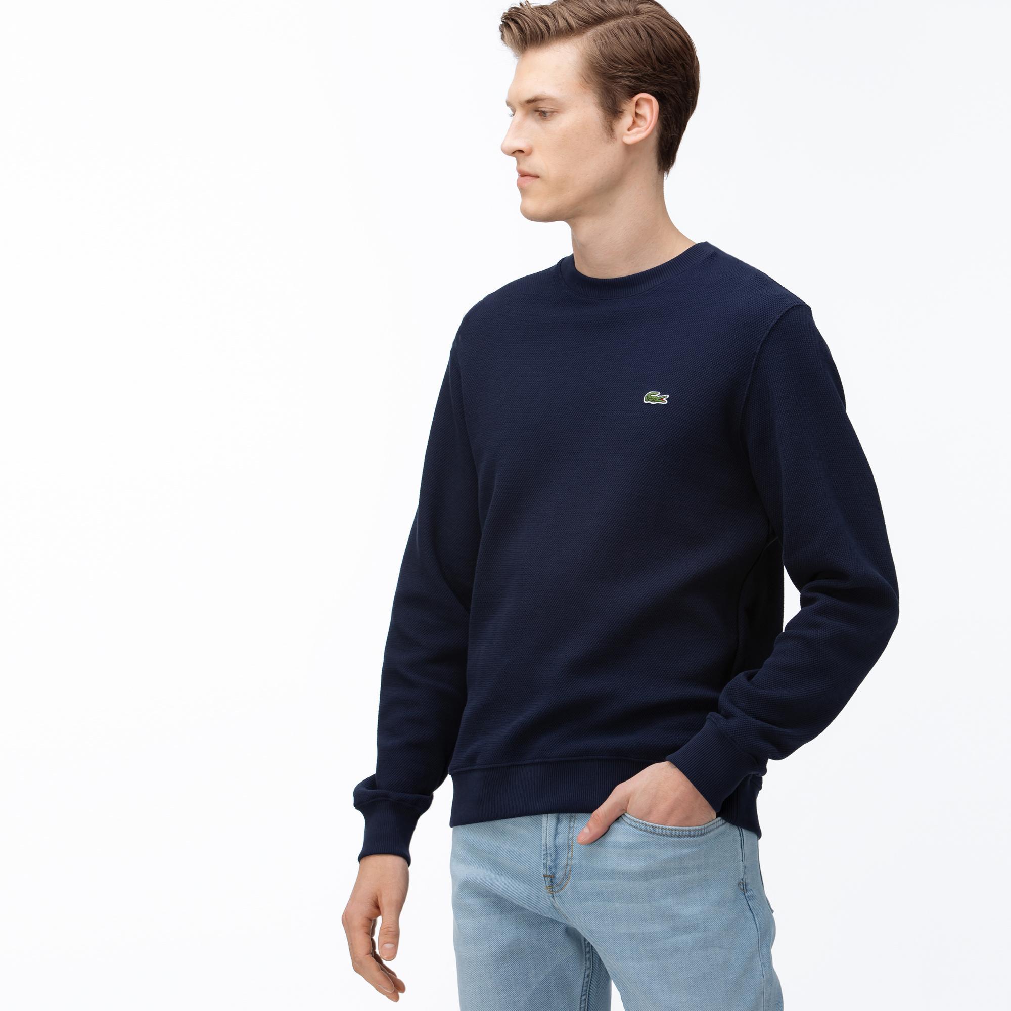 Lacoste Men's Cotton Piqué Fleece Crew Neck Sweatshirt