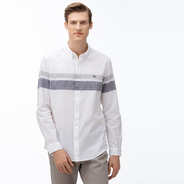 Lacoste Men's Slim Fit Block Striped Button-Down Collar Shirt