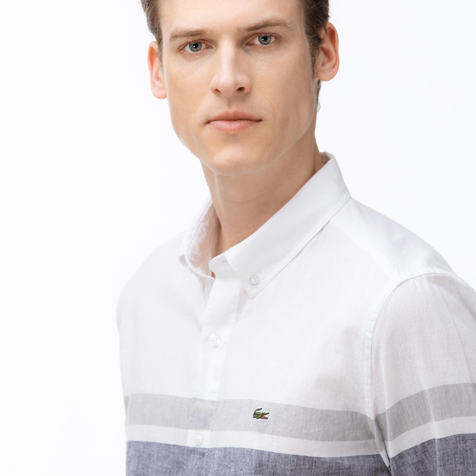 Lacoste Men's Slim Fit Block Striped Button-Down Collar Shirt