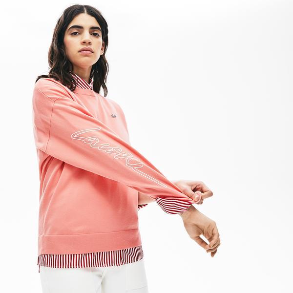 Lacoste Women's Lıve 3D Signature Cotton Crew Neck Sweater
