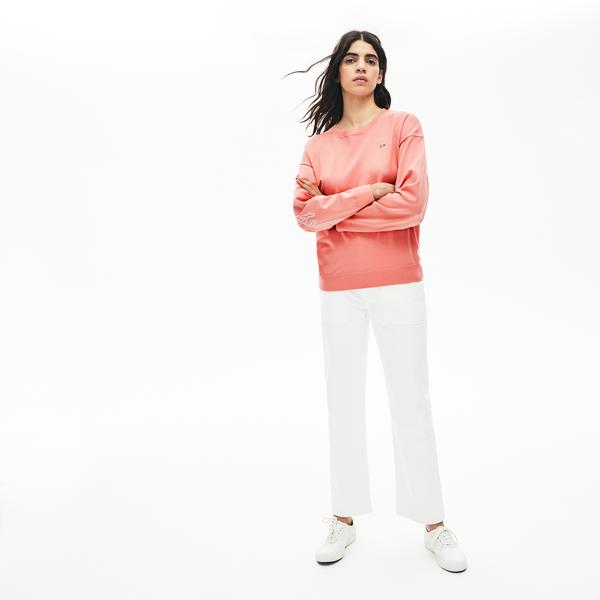 Lacoste Women's LIVE 3D Signature Cotton Crew Neck Sweater