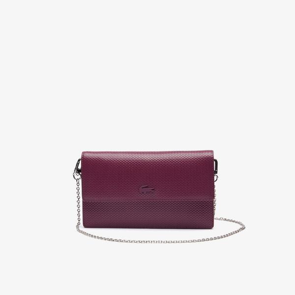 Lacoste Women's Chantaco Chain Strap Leather Flap Clutch Bag