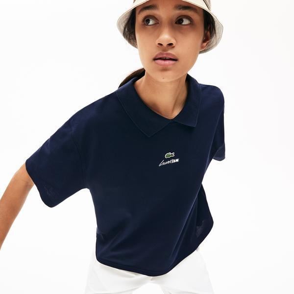 Lacoste Women's LIVE Boxy Fit Zip Collar Stretch Piqué Polo