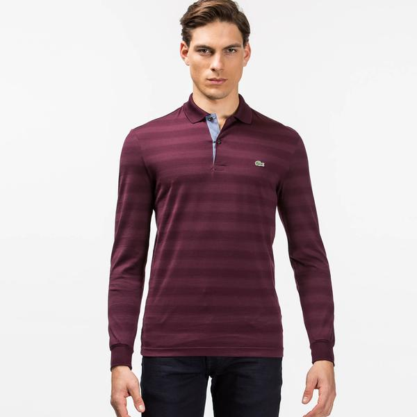 Lacoste Men's Long Sleeve Striped Polo