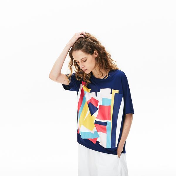 Lacoste Women's Coloured Design Crew Neck Cotton T-Shirt