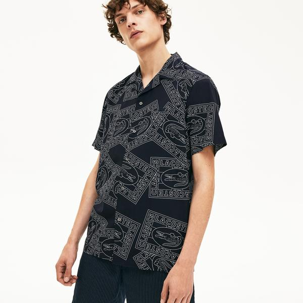 Lacoste Men's Hawaiian Fit Print Poplin Shirt