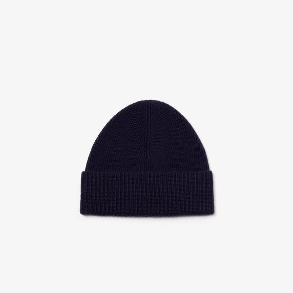 Lacoste Men's Ribbed Turned Edge Wool And Cashmere Knit Beanie