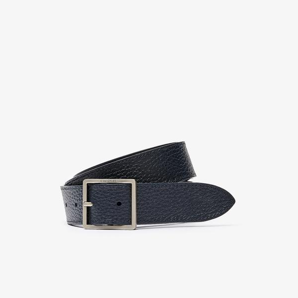 Lacoste Men's Reversible Grain Leather Belt With An Engraved Buckle