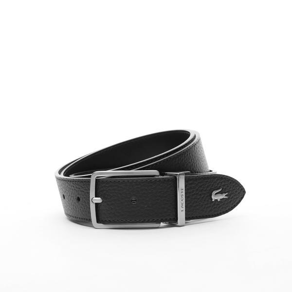 Lacoste Men's Engraved Buckle Grained Leather Belt