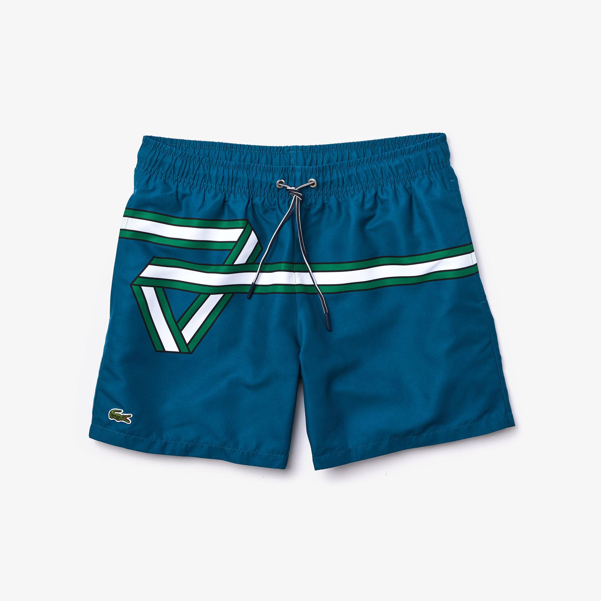 Lacoste Men's Ribbon Print Light Quick-Dry Swim Shorts