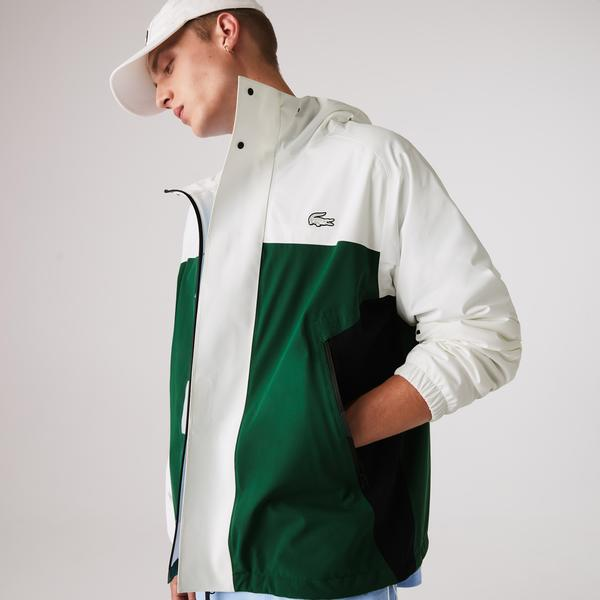 Lacoste Men's Lightweight Colorblock Hooded Water-Resistant Jacket