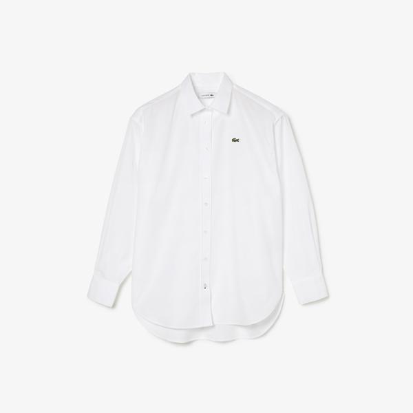 Lacoste Women's Oversized Striped Cotton Poplin Shirt