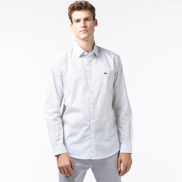 Lacoste Men's Slim Fit Micro-Print Cotton Poplin Shirt