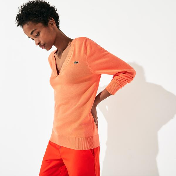 Lacoste Women's Sport Breathable V-Neck Cotton Golf Sweater