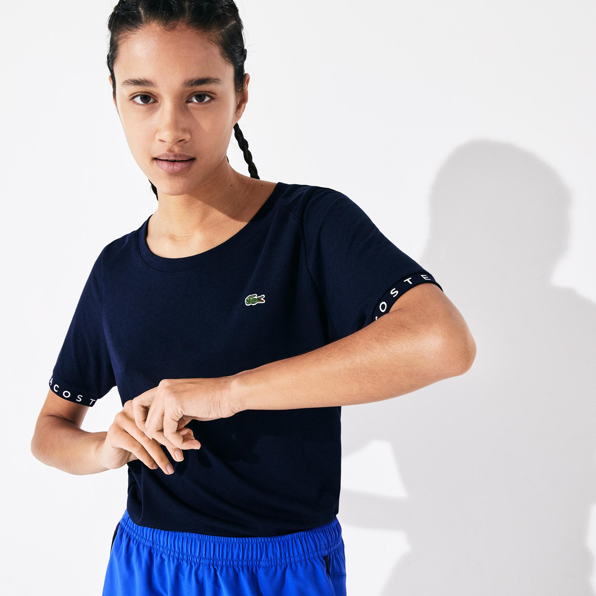 Lacoste Women's Sport Flowing Lettered Sleeve Tennis T-Shirt