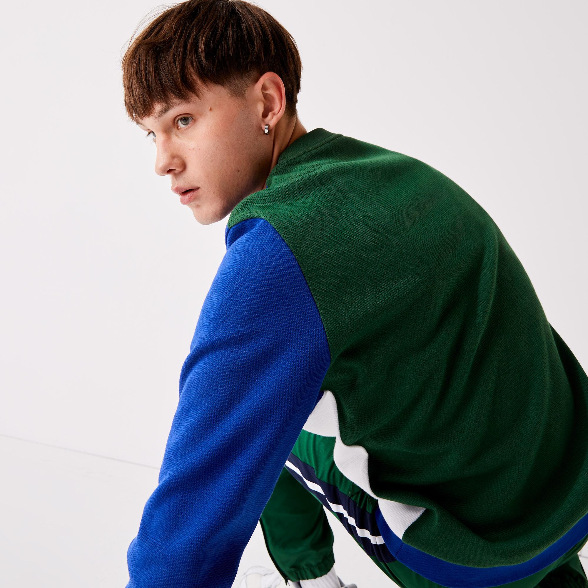 Lacoste Men's SPORT Two-Ply Colorblock Cotton Blend Sweatshirt