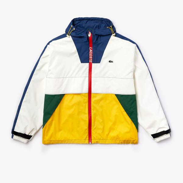 Lacoste Unisex LIVE Hooded Zippered Colorblock Windbreaker