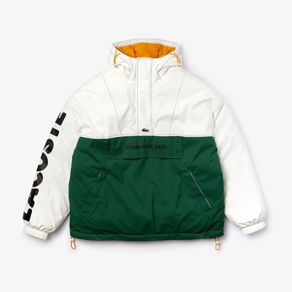 Lacoste Men's LIVE Light Water-Repellent Hooded Colorblock Coat